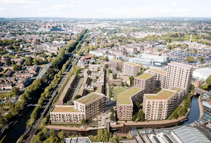 Plans to build more than 750 new homes on a derelict site on Birmingham's Main Line Canal have been submitted to Birmingham City Council.   Joint venture partners Galliard Homes and Apsley House Capital are proposing a residential-led, mixed-use scheme of 756 new homes and more than 10,000 sq ft of commercial space at the Soho Loop site.