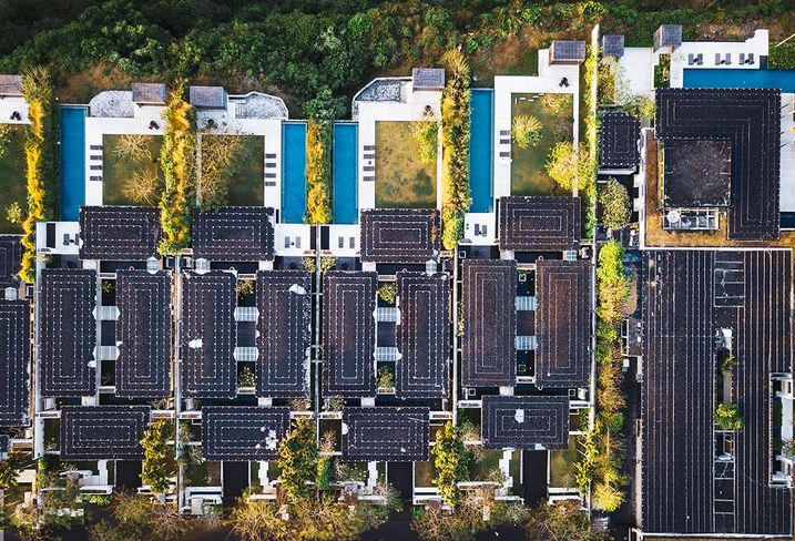 Sustainable development with solar panels