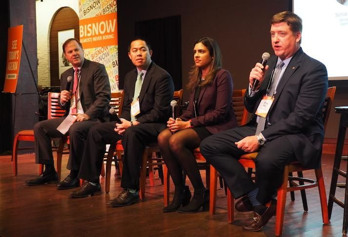 CBRE's David Webb, Artemis Real Estate Partners' Michael Vu, CapitalSource's Sonia Khanna and and EagleBank's Ryan Riel