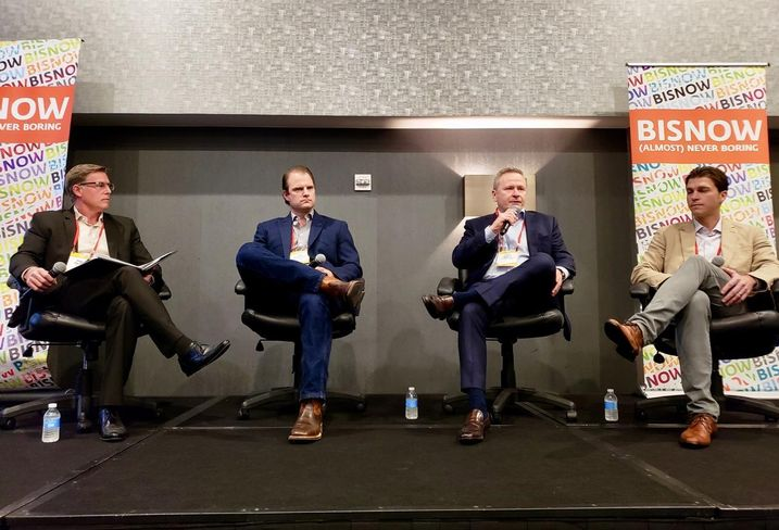 BNBuilders James Awford, Frontier Real Estate Development Dan Almquist, The Irvine Co. Chris Marsh and Raintree Partners Jason Check at Bisnow's Orange County Construction and Development event Feb. 12 at the Irvine Marriott in Irvine.