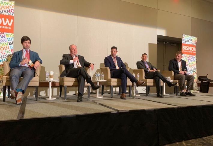 CBRE National Senior Housing Vice Chairman Aron Will, Silverstone Healthcare Co. Managing Director Tom Dwyer, RSF Partners Principal Sebastian Brown, Presidium Co-CEO John Griggs and The Whiting-Turner Contracting Co. Senior Project Manager Matthew Andres, who moderated.