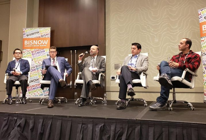 Avanath Capital Management Jun Sakamoto, CliftonLarsonAllen's Carey Heyman, AMCAL's Arjun Nagarkatti, Goldrich Kest's Michael Drandell and Bueno Group's Andre Bueno at Bisnow's Greater Los Angeles Multifamily event Feb. 19 at the Marina del Rey Marriott in Marina del Rey.