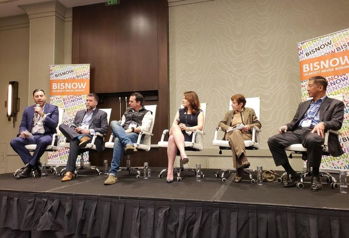 Strategic Legacy Investment Group's Michael Sabet, Polaris Pacific's Mike Akerly, Slate Property Group's Danny Barnes, Cypress Equity Investments' Alla Sorochinsky, Bellwether Enterprise's Shelley Magoffin and K2 Clean Energy Capital's Steve Tsu at Bisnow's Greater Multifamily event Feb. 19 at the Marina del Rey Marriott in Marina del Rey.