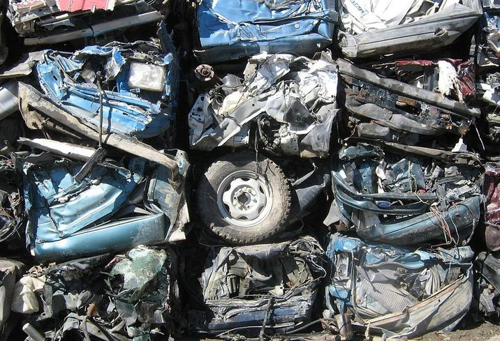 Crushed cars car crusher automobiles auto