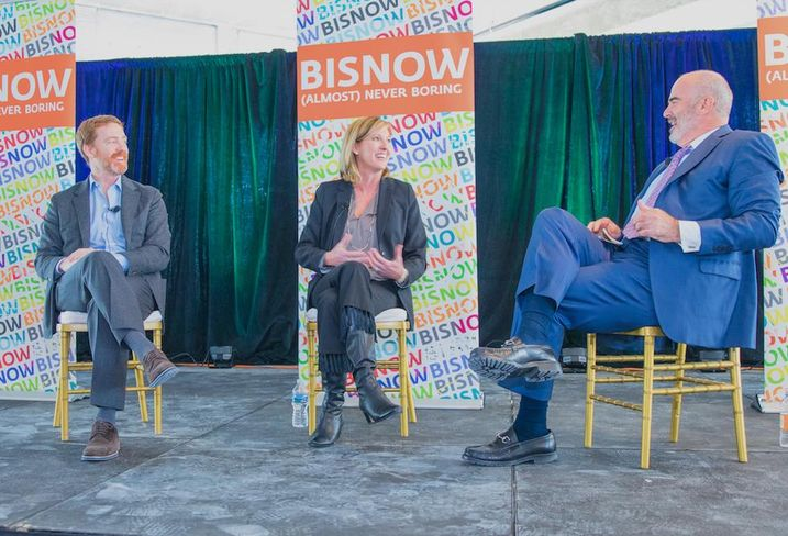 JBG Smith CEO Matt Kelly, Amazon Head of Worldwide Economic Development Holly Sullivan and Cushman & Wakefield Vice Chairman Bill Collins speak at a Bisnow event Feb. 28, 2019.