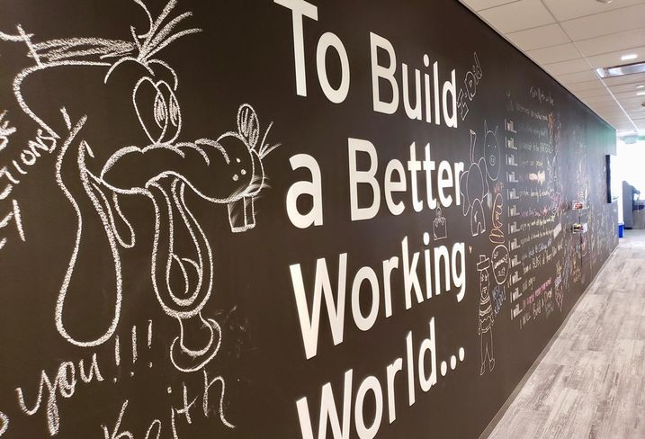 A community wall inside EY's newly revamped office in downtown Los Angeles