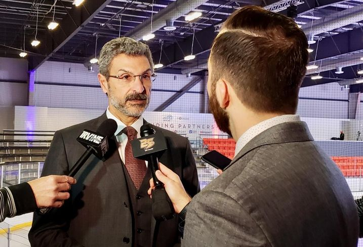 FivePoint Chairman and CEO Emile Haddad is interviewed about the Anaheim Ducks' new practice facility at the Five Point Arena in Irvine