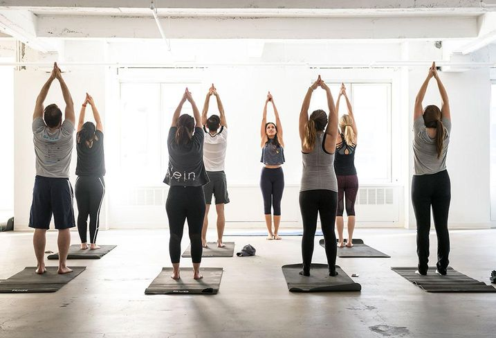 A tenants yoga class at 530 Fifth Ave.