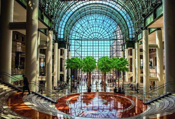 The glass atrium at Brookfield Place in Lower Manhattan