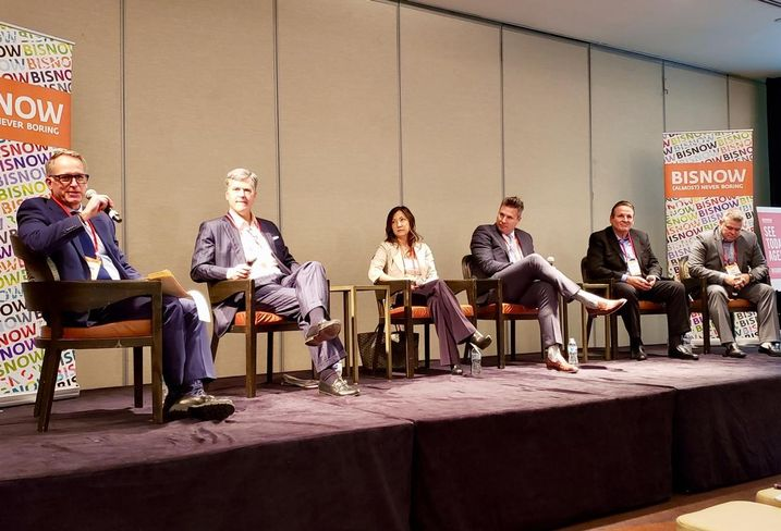 Sheppard Mullin's Lawrence Eppley, Oxford Capital Group's John Rutledge, Chartres Lodging's Maki Barra, George Smith Partners' Malcolm Davies, Green Pace Financial's Shawn Heyl and Pacifica Hotels' Matt Marquis at Bisnow's Los Angeles Summit at the Omni Los Angeles Hotel in downtown Los Angeles