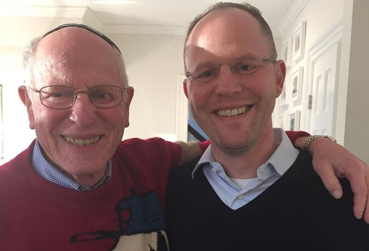 Bruce Schanzer, right, with his father