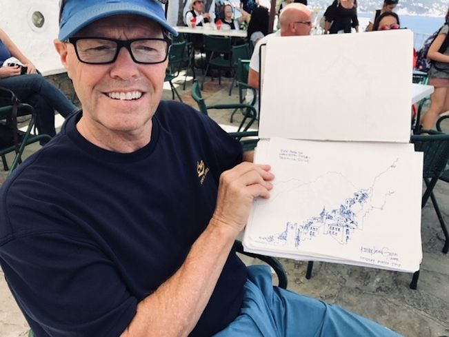 Savills' Kelly Givens shows off a sketch.