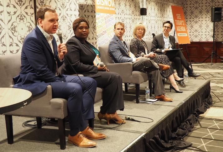 EagleBank's Chris Painter, Wesley Housing's Kamilah McAffee, ZOM Senior Living's Brett Gelsomino, Mather LifeWays' Gale Morgan and Hickok Cole's Laurence Caudle