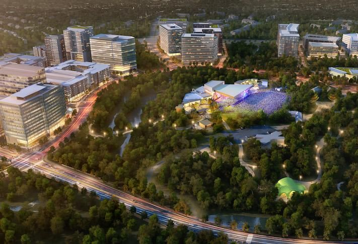 A rendering of the Merriweather District development planned around the Merriweather Post Pavilion