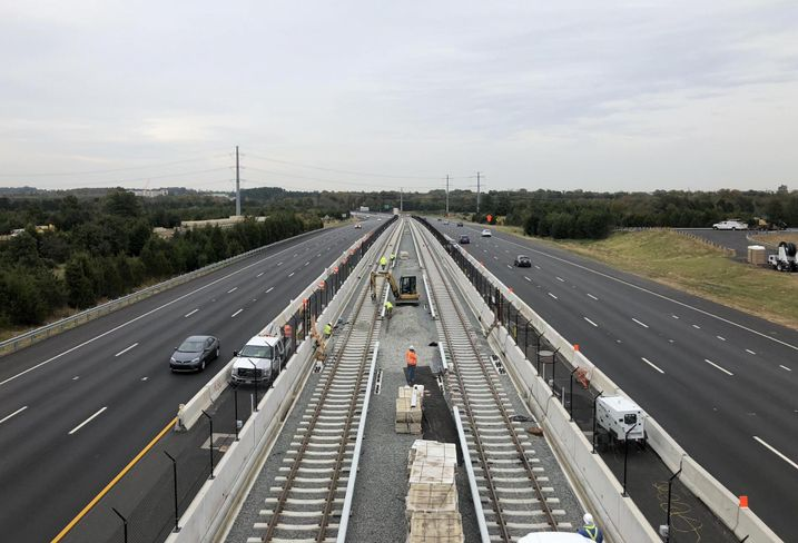 Construction taking place on the Silver Line in the median of the Dulles Greenway