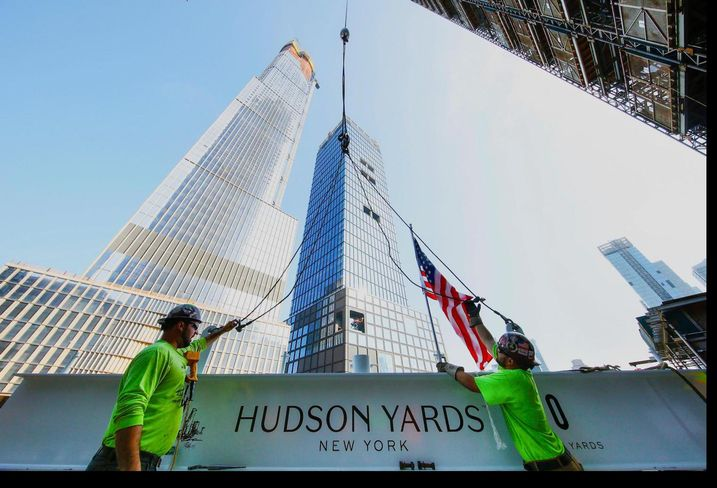 The topping out of 30 Hudson Yards in July 2018