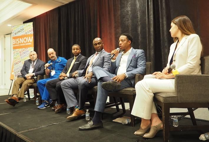 DPR Construction's John Anania, Doctors To You's Dr. Ernest Brown, Howard University College of Medicine's Michael Crawford, WSP's Gary Hamilton, Ergo OccMed's Dr. Courtland Wyatt and Kimball Health's Sheri Hurley