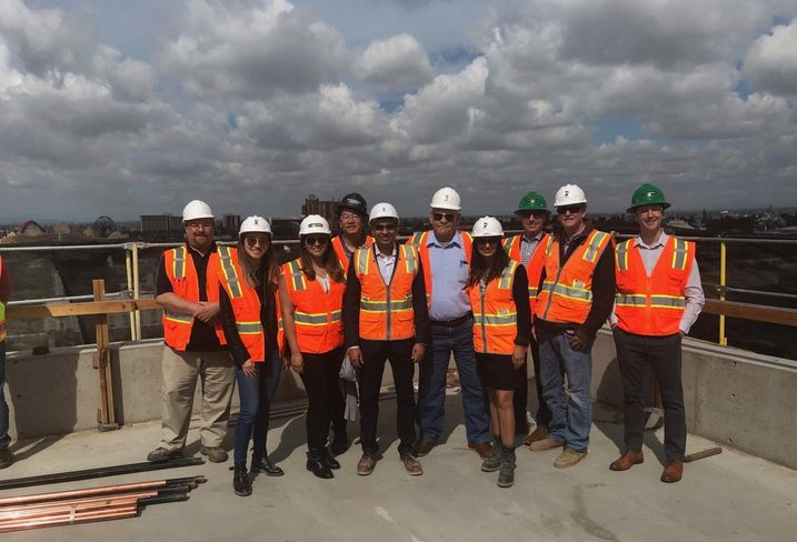 Members of the Prospera Group team celebrates the topping off of the JW Marriott, Anaheim's newest four diamond resort