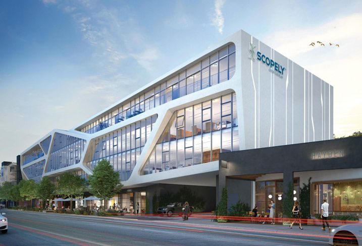 Rendering of mixed-use building at 8888 Washington Blvd. in Culver City