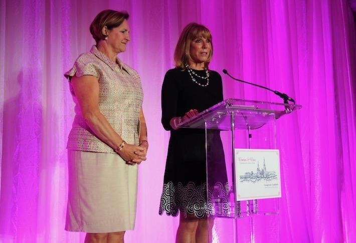 Brandywine Realty Trust's Janet Davis and Baker Tilly's Barbara McDuffie speaking at Women & Wine