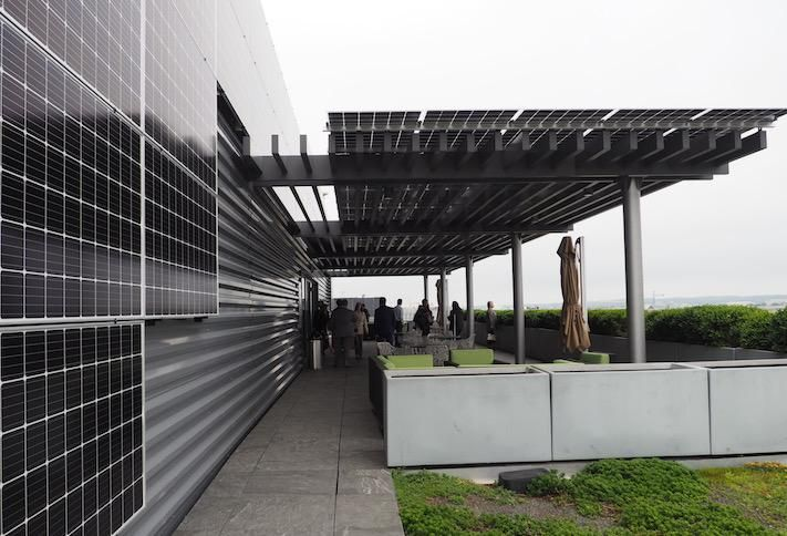 The solar panel canopy on the rooftop of Oxford Properties' 1101 New York Ave. NW