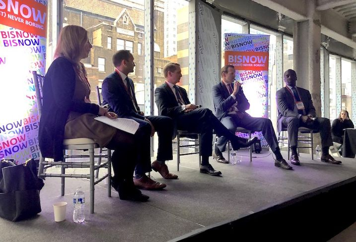 Herrick Feinstein's Jodi Stein, REBNY's Paimaan Lodhi, Silverstein Properties' Brian Collins, Avison Young's James Nelson and BRP Cos.' Meredith Marshall speak at NYC Hottest Investment Opportunities May 14, 2019.