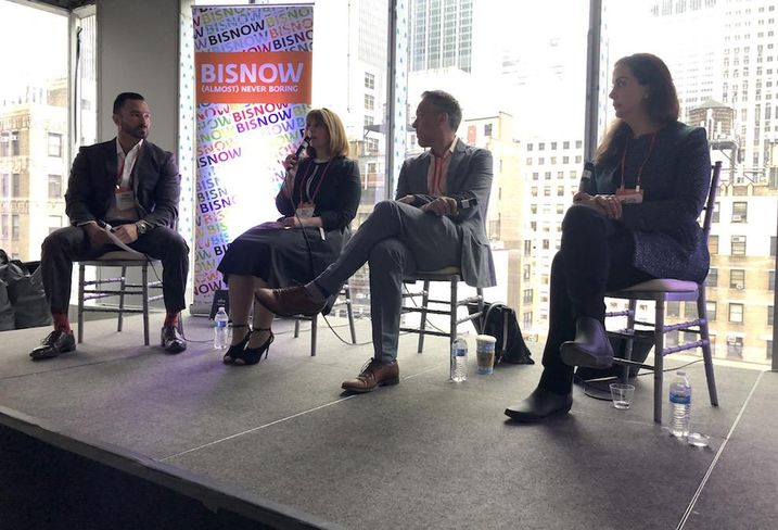 First American Title's Sohail Shahpar, Extell Development's Raizy Haas, L+M Development's Isaac Henderson and Taconic Investment Partners' Collen Wenke speak at Bisnow's NYC Hottest Investment Opportunities May 14, 2019.
