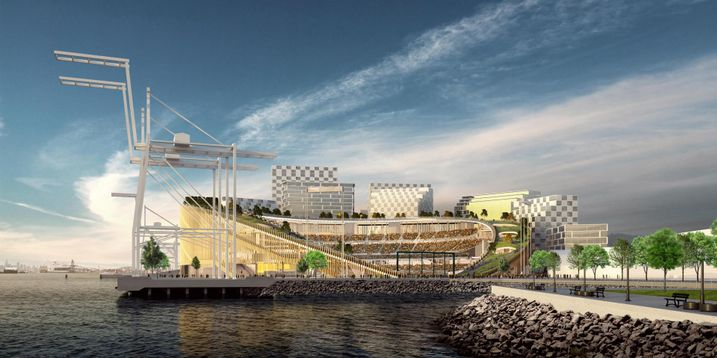 Bjarke Ingels Group rendering of the A's Howard Terminal ballpark