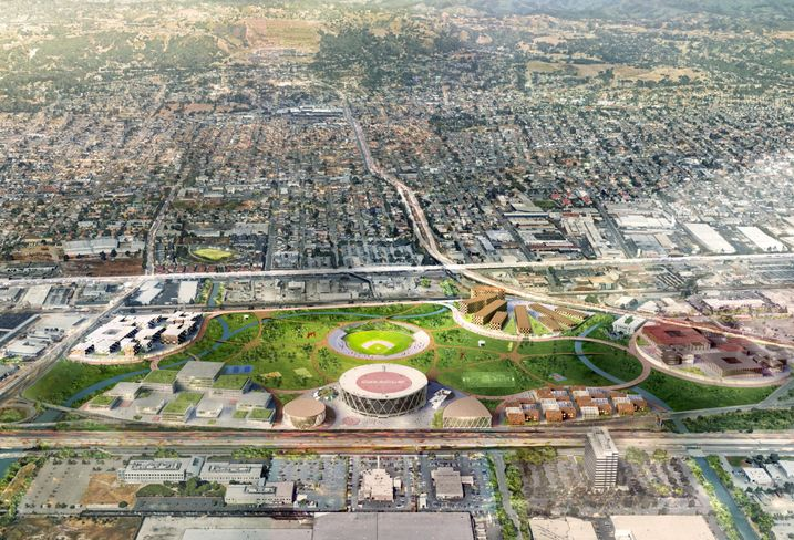 A bird's-eye view of the A's proposal for the Coliseum complex