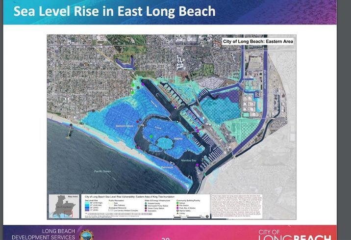 This map shows how sea level rise due to climate change can affect the eastern area of Long Beach.