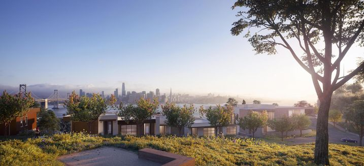 A rendering of Wilson Meany and Stockbridge's townhomes for Yerba Buena Island