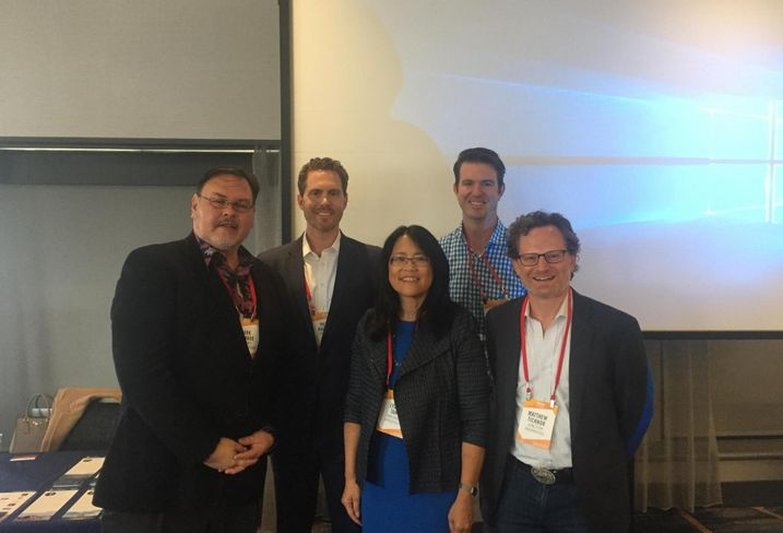 Lowney Architecture Design Director Mark Donahue, CIM Group's Peter Banzhaf, Oakland A's Managing Director of Real Estate Lydia Tan, GROUNDWORKS Office's Brennan Cox and Junction Properties founder Matthew Ticknor