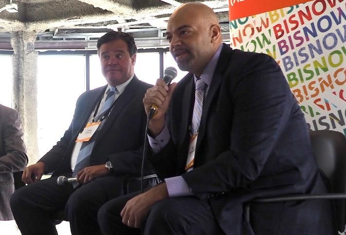 Jarvis Commercial Real Estate's Ernie Jarvis and Menkiti Group's Bo Menkiti, speaking at a June Bisnow event