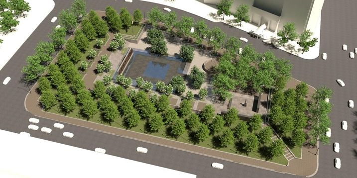 A rendering of the layout of Pershing Park, including the new National World War I Memorial