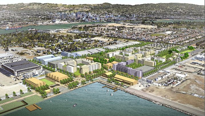 An aerial rendering of Alameda Point Partners's Alameda Point project