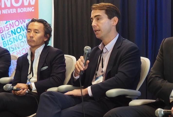 Morning Calm Management's Mukang Cho and WashREIT's Andrew Leahy at a 2018 Bisnow event