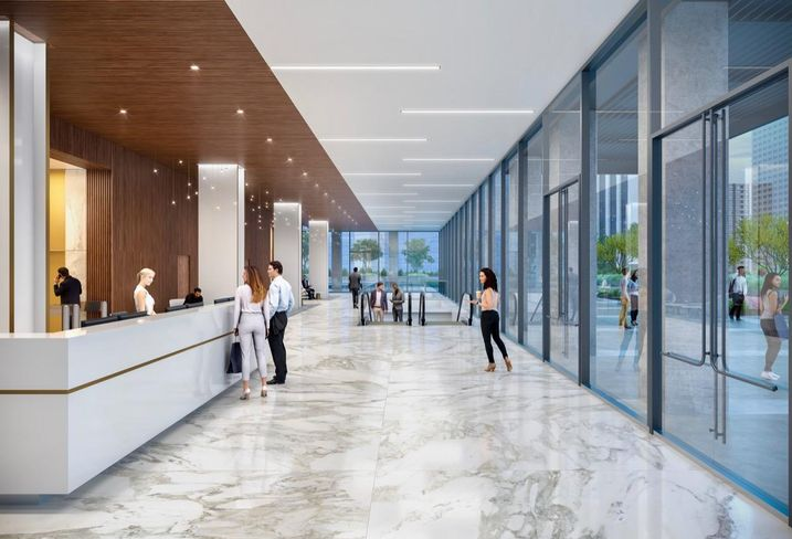 Interior rendering of KBS' new look for Union Bank Plaza in downtown Los Angeles