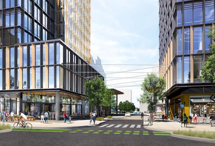 A street-level rendering of the planned Amazon HQ2 office buildings