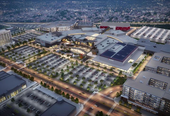 Rendering of Centennial Real Estate's MainPlace Mall in Santa Ana
