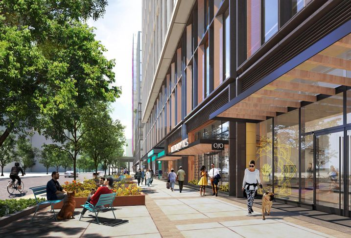 A rendering of the ground-floor retail and sidewalk space in the first buildings planned for Amazon HQ2