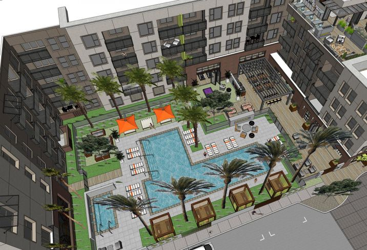 The Line at Santa Ana, a 3.9-acre mixed-use development with 228 apartment units and 4K SF of ground floor retail at 3630 W. Westminster Avenue in Santa Ana.