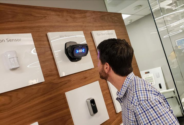 Openpath President and co-founder James Segil demonstrates an iris scanning technology his company is developing.