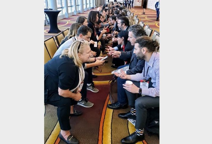 Attendees participate in speed networking at BMAC West 2019 at the JW Marriott in downtown Los Angeles