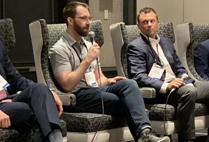 Amazon General Manager Tim Foley and ARCO's Drew Enstice at Bisnow's July 11 Baltimore-Washington Industrial Boom event