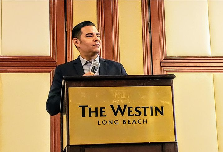 Long Beach Mayor Robert Garcia speaks at Bisnow's Long Beach Boom! event July 23 at the Westin Long Beach