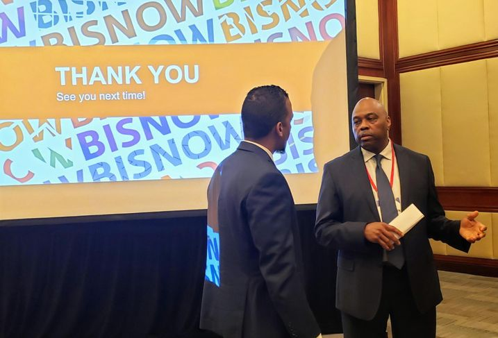 Los Angeles County Metropolitan Transportation Authority CEO Phillip Washington speaks to an attendee at Bisnow's Long Beach Boom! event July 23 at the Westin Long Beach