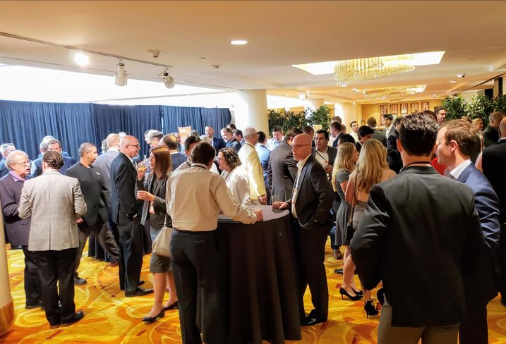 Attendees network at Bisnow's Southern California Industrial & Logistics Summit Aug. 20 at The L.A. Grand Hotel Downtown in Los Angeles