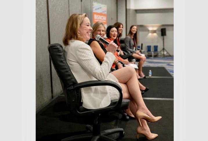Steadfast Cos.' Ella Shaw Neyland, CBRE's Sharon Kline, Orange County Board of Supervisors' Lisa Bartlett, Duke Realty's Nancy Shultz and Allen Matkins' Morgan Medlin at Bisnow's Orange County Power Women event at the Irvine Marriott in Irvine