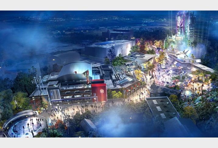 Rendering of the Avengers Campus, a new themed-land, at Disney California Adventure