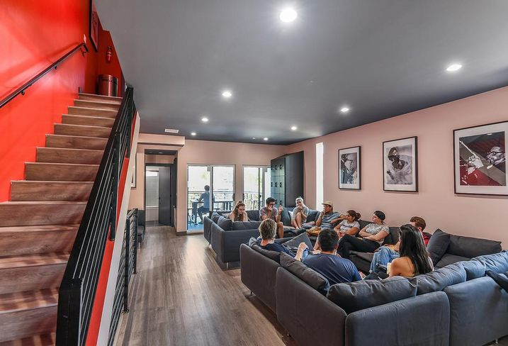 A common area inside an Upstart co-living building in Los Angeles